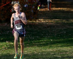Watertown, CT- 21 October 2015-102115CM10-  Naugatuck's Grady Beasley  runs to the finish line during the XC championships at Veterans Memorial Park in Watertown on Wednesday. Beasley was the boys overall winner, with Naugatuck taking the team title.     Christopher Massa Republican-American