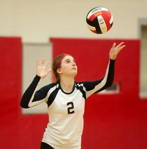 Pomperaug's Leah Rubinstein (2) prepares to serve during their match against Weston Monday at Pomperaug High School in Southbury. Pomperaug defeated Weston 3-2. Jim Shannon Republican-American