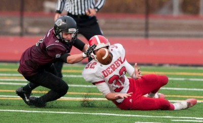 Derby's Ricky Bartone (32) ran for 247 yards and scored four times in the Red Raiders' win at Naugatuck. (Jim Shannon/RA Archives)