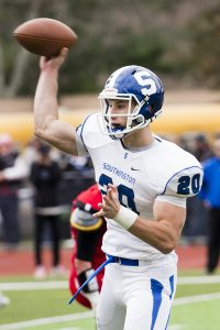 Southington's Jasen Rose, the UConn commit who is undefeated as a starting quarterback, led the Blue Knights over Cheshire on Thanksgiving. (Erin Covey/RA)