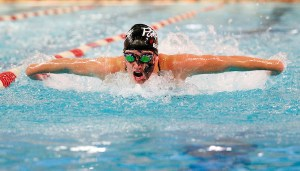 Southbury, CT- 29 October 2015-102915CM03- Pomperaug's Gracie Regan competes in the 200 yard IM against New Milford on Thursday. Regan won the event.     Christopher Massa Republican-American