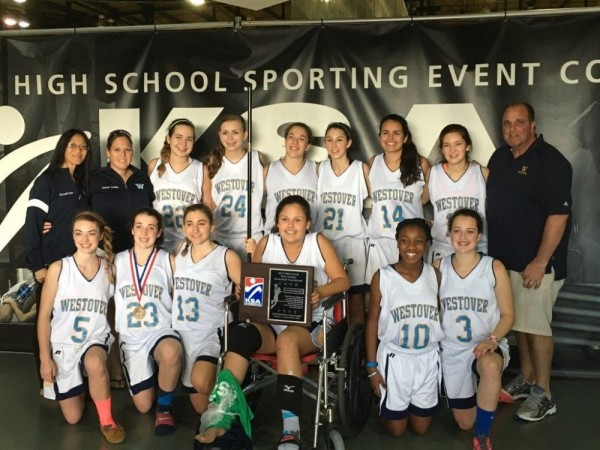 Contributed photo The Westover girls basketball team played at the KSA Holiday Tournament at Disney's Wide World of Sports complex last week. The team went 1-2, with a victory over a public high school from Ohio. Pictured in the front row, left to right: Brigid Protzman, Gabbie Dunn, Maddie Burns, Maddie Therrien, Rosie Rabin, and Zulie Dunn Back row: assistant coaches Kim Allen and Cathy Hillian, Tegan McBride, Maddie McKenna, Grace Bollard, Zola Bernardi, Chaylee Macadam, Nola Iwasaki, coach Marty Pelosi.