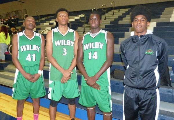Wilby boys Ezra Goodman (41), Dimitri Yates (3), Jerquan Smals (14), Shane White