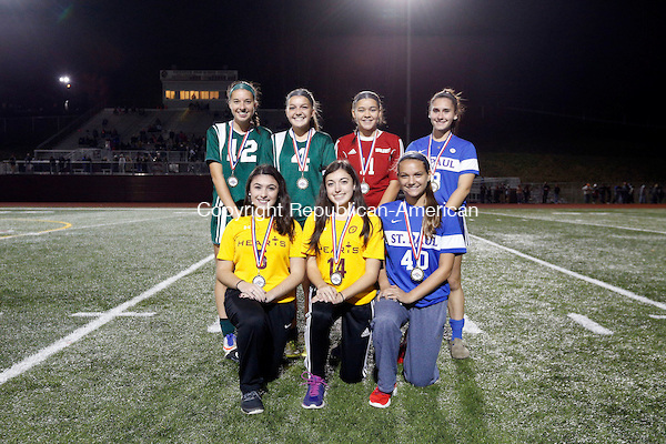 Naugatuck, CT- 03 November 2016-110316CM17- The girls NVL Brass Division all stars: Front row, left to right: Nellie Drewry, Brianna Cyr, Sacred Heart; Julia Dess, St. Paul Catholic. Back row: Hayley Gilmore, Julia Sheetz, Holy Cross; Marissa Morales, Wolcott; Brianna Sense, St. Paul Catholic. Missing: Kayla Mayo, Wolcott. Christopher Massa Republican-American (Christopher Massa/Republican-American)