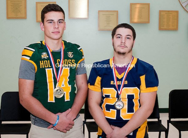 WATERBURY, CT-121216JS17 --Winners of the Mambruno Award given to top senior athletes were awarded to Holy Cross' Adam Razza and Kennedy's Jacob Colon. Jim Shannon Republican American (Jim Shannon)