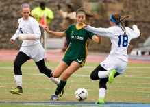 Holy Cross' Adalisse Padilla (10) steals the ball from Old Lyme's Caroline Wallace (18) during their Class S state final game Saturday at Middletown High School. Jim Shannon Republican-American