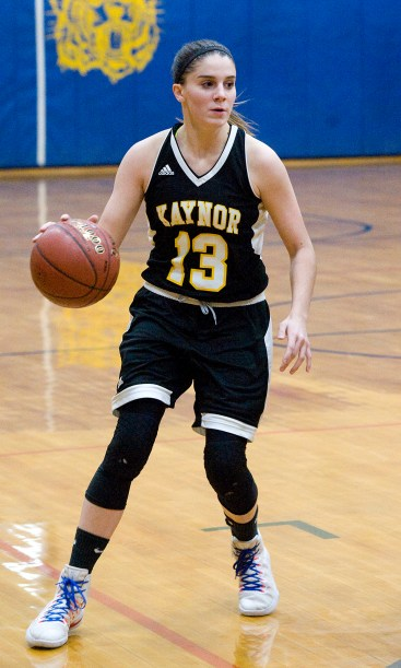 Kaynor Tech's Maggie DeSantis (13) brings the ball up court during their game against Wolcott Tech Thursday at Wolcott Tech school in Torrington. Jim Shannon Republican-American