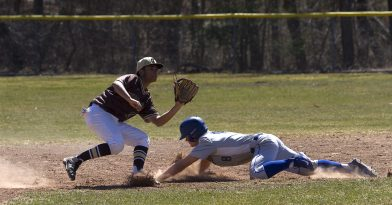 THOMASTON, CT - 31 MARCH - 033118JW10.jpg -- Thomaston #29 Cesar Vasquez can't stop Gilbert #8 Kyle Matthews from stealing second base during Thomaston's 5-3 win over Gilbert Saturday afternoon. Jonathan Wilcox Republican-American