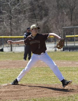 THOMASTON, CT - 31 MARCH - 033118JW12.jpg -- Thomaston #1 Drew Colavecchio pitches during Thomaston's 5-3 win over Gilbert Saturday afternoon. Jonathan Wilcox Republican-American