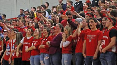 Northwestern Regional fans cheer on their team during the Division IV state tournament quarterfinals Monday night at Northwestern Regional High School. Northwestern defeated Lewis Mills 58 -35 Michael Kabelka / Republican-American