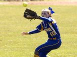Seymour's Becca Johnson (10) makes a running catch in center field during their game against Holy Cross Saturday at Holy Cross High School. Jim Shannon Republican American