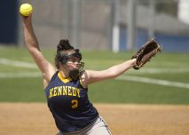WATERBURY, CT-042818JS16- Kennedy's Ashlei Sharkey (3) delivers a pitch during their game against Sacred Heart Saturday at Kennedy High School. Jim Shannon Republican American