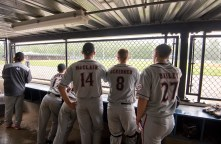 Players from Foutch of Flint Township (MI) watch action from the dugout during their game against South Troy Wednesday at Municipal Stadium in Waterbury. Jim Shannon Republican American