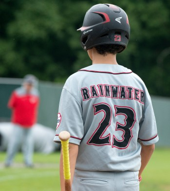 A fitting name for the day, Foutch's Taner Rainwater (23) waits on deck during their Mickey Mantle World Series game against South Troy Wednesday at Municipal Stadium in Waterbury. Jim Shannon Republican American
