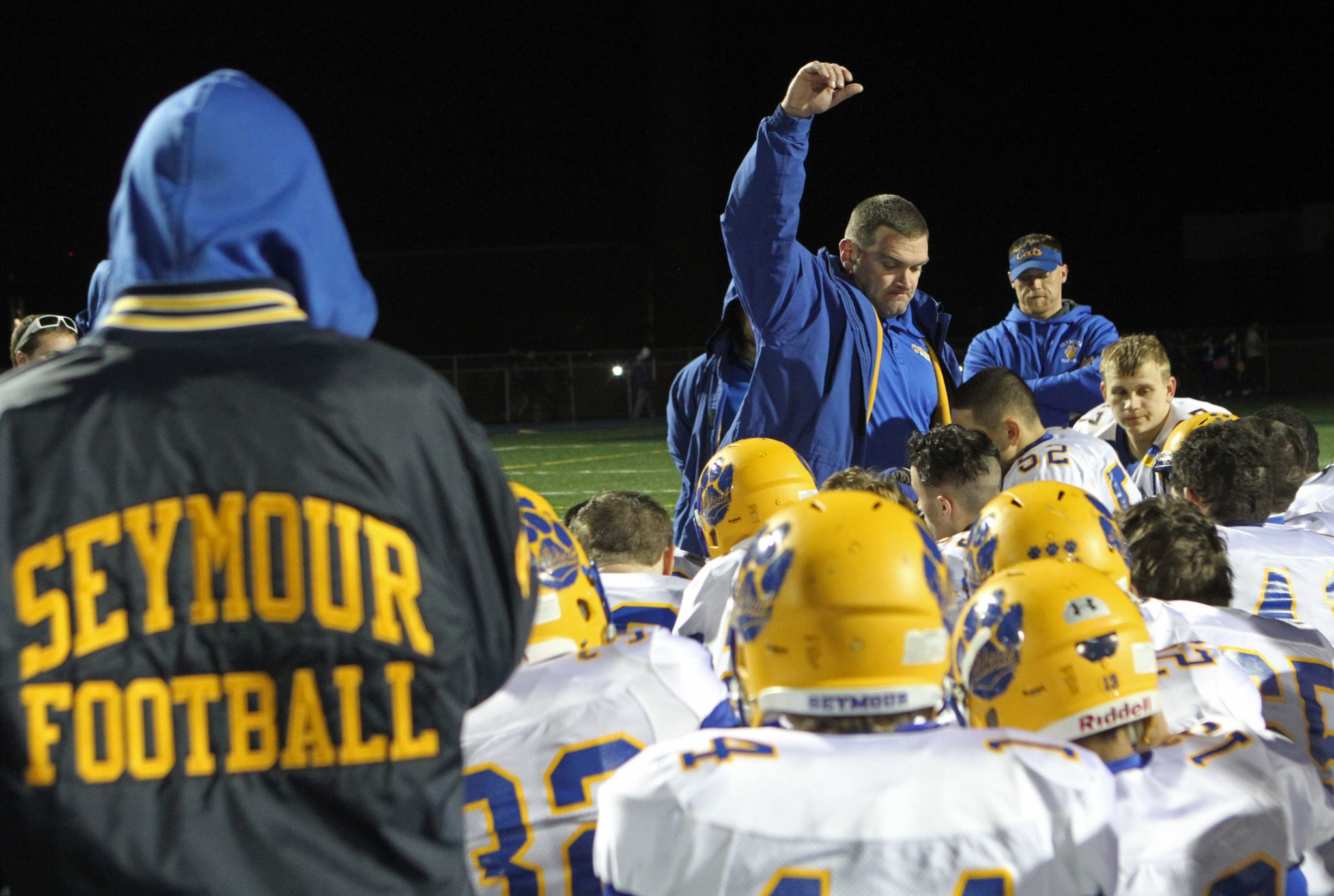 2015: Seymour's coach Tom Lennon encourages his team and reminds them how far they come after Class M semifinal action at Bloomfield High School. (RA)