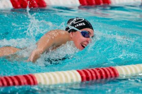 Pomperaug's Victoria Williams finished first in the 100M freestyle with a time of 58:43 during their meet against Stratford in SWC swim action Tuesday at Pomperaug High School. Jim Shannon Republican American