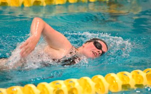Sacred Heart's Kylie McCue competes in the 500M freestyle during their meet with Seymour Wednesday at Kennedy High School in Waterbury. Jim Shannon Republican American