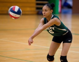 Wilby's Jennitza Rivera (6) bumps the ball as she plays a serve during their NVL volleyball game against Kennedy Tuesday at Wilby High School in Waterbury. Jim Shannon Republican American