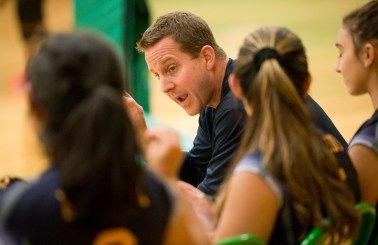 Kennedy head coach Michael Stango talks with his players during their NVL volleyball game against Wilby Tuesday at Wilby High School in Waterbury. Jim Shannon Republican American