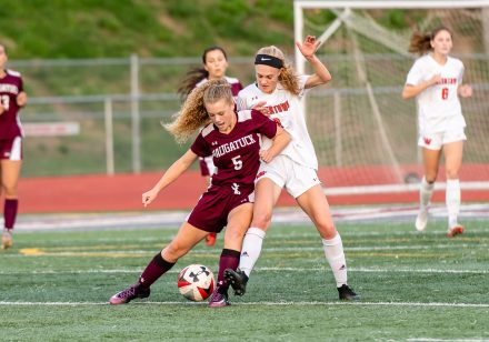 Naugatuck's Paige Cruz #5 battles with Watertown's Maddie Daigneault #8 for control of the ball during a Girls NVL Soccer game between Watertown and Naugatuck at Naugatuck High School in Naugatuck on Monday. Bill Shettle Republican-American