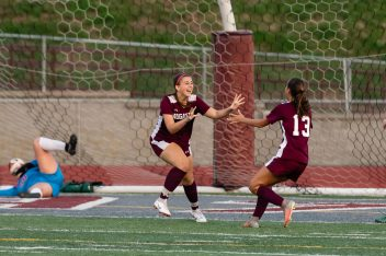 Naugatuck's Alissa McNair #14, left celebrates her goal with teammate Emma Sonski #13 during a Girls NVL Soccer game between Watertown and Naugatuck at Naugatuck High School in Naugatuck on Monday. Bill Shettle Republican-American