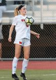 Watertown's Madeline Daigneault #8 gains control and stops the ball with her body during a Girls NVL Soccer game between Watertown and Wolcott at Wolcott High School in Wolcott on Wednesday. Bill Shettle Republican-American