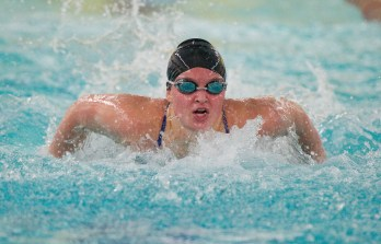Seymour's Sierra Cripps finish first in the 100 Yard Butterfly with a. Time of 58:98 during their NVL meet with Torrington Tuesday at Seymour High School. Jim Shannon Republican American