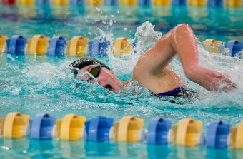 Seymour's Kaitlyn McCluskey took first place in the 500 Yard Freestyle with a time of 5:38:73 during their NVL meet with Torrington Tuesday at Seymour High School. Jim Shannon Republican American