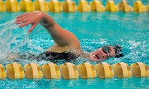 Torrington's Molly Hanscom competes in the 500 Yard Freestyle during their NVL meet with Seymour Tuesday at Seymour High School. Jim Shannon Republican American
