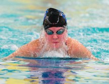 Seymour's McKenna Haynes competes in the 100 Yard Breaststroke during their NVL meet with Torrington Tuesday at Seymour High School. Jim Shannon Republican American