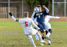 Wolcott Tech's Mark Rich #8 and Prince Tech's Jordan Baker #5 battle for a bouncing ball during a boys CTC soccer game between Prince Tech and Wolcott Tech at Oliver Wolcott Tech School in Torrington on Thursday. Bill Shettle Republican-American