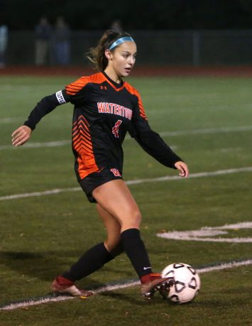 Watertown High School's Elaina Vilar dribbles up the field during the NVL Girls' Soccer Tournament semi-final girls varsity soccer game in Watertown against Woodland Regional High School on Tuesday. Emily J. Reynolds. Republican-American