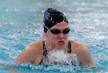 Seymour's Olivia Velleco won the 100 yard breaststroke during the NVL finals at Kennedy High School Friday night. Velleco had a time of1:09.21 Seymour won the NVL title with an overall score of 755.5. Michael Kabelka / Republican-American