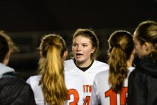 Watertown's Alyssa Santangeli #14 addresses the team in a post game speech after Watertown got beat by Tolland 2-1 during the Girls Soccer Class L Semifinal game between Watertown and Tolland at Veterans Memorial Stadium at Willowbrook Park in New Britain on Monday. Bill Shettle Republican-American