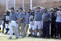 The Ansonia sideline reacts to a play during their Class S state final matchup in New Britain on Saturday. Ansonia would go onto lose to Bloomfield, 31-20. Christopher Massa Republican-American