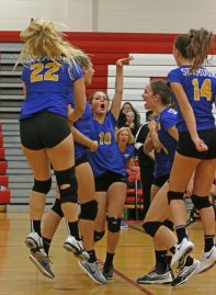 Seymour celebrates after scoring a pointl against Woodland in Class M semi-final Volleyball tournament at Pomperaug High School Tuesday night. Seymour won 3-0. Michael Kabelka / Republican-American.