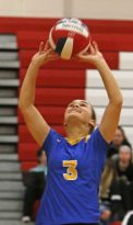 Seymour's Alyssa Cosciello #3 in Class M semi-final Volleyball tournament at Pomperaug High School Tuesday night. Seymour won 3-0. Michael Kabelka / Republican-American.