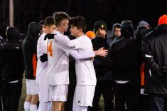 Watertown's Miron Jusufi #10, right, and Watertown's Keith Caouette #14 console each other after getting beat by Ellington 1-0 during the Boys Soccer Class M Semifinal game between Ellington and Watertown at Municipal Stadium in Waterbury on Wednesday. Bill Shettle Republican-American