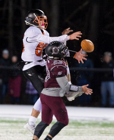 Torrington's Joshua Maldonado (23) breaks up a pass intended for Watertown's Owen Munson (85) during their annual match--up Wednesday at Torrington High School. Jim Shannon Republican American