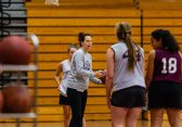 Torrington Girls Assistant basketball coach Erika Pratt teaches the girls the basic fundamentals during the girls basketball team's first practice as they prepare for the upcoming 2018 season at Torrington High School in Torrington on Wednesday. Bill Shettle Republican-American