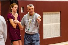 Torrington Girls Head coach Mike Fritch, takes the time out to have a teachable moment with one of his players during the girls basketball team's first practice as they prepare for the upcoming 2018 season at Torrington High School in Torrington on Wednesday. Bill Shettle Republican-American