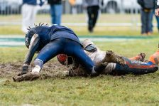 A Bloomfield players gets to the loose ball from the fumble of Ansonia's running back Shykeem Harmon #3, in front of Ansonia's Jalen Johnson #10 during the Class S Semi-final game between Bloomfield and Ansonia at Ansonia High School in Ansonia on Sunday. Bloomfield held on to beat Ansonia 26-19 and advances to the Class S Championship game next week. Bill Shettle Republican-American