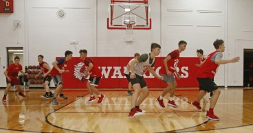 The Wamogo's boys basketball team on pre-season drills in the newly renovated gym Monday. Michael Kabelka Republican-American