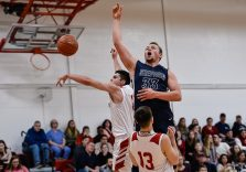Shepaug's Ethan Hibbard #33 reacts after having his shot blocked by Wamogo's Ethan Collins #11, left, during a BL basketball game in the Litchfield Hills Holiday Claasic between Shepaug and Wamogo at Wamogo High School in Litchfield on Thursday. Bill Shettle Republican-American