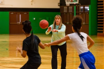 New Wilby Girls Basketball coach Kelly Fengler passes the ball to her players in a drill during the girls basketball team's practice as they prepare for the upcoming 2018 season at Wilby High School in Waterbury on Thursday. Bill Shettle Republican-American