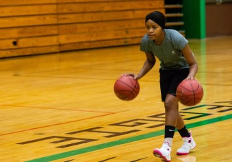 Wilby Girls Basketball player Sophomore Jynia Gibbs performs a dribble drill with two balls during the girls basketball team's practice as they prepare for the upcoming 2018 season at Wilby High School in Waterbury on Thursday. Bill Shettle Republican-American