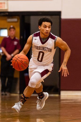 Torrington's Dontae Thomas #0 dribble up court during a NVL Boys Basketball game between Crosby and Torrington at Torrington High School in Torrington on Wednesday. Bill Shettle Republican-American