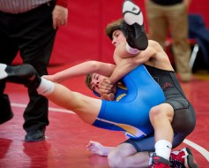 Pomperaug's David Jutcawitz pinned Newtown's Connor Faxon in :39 to win the 120lb. class during their meet Thursday at Pomperaug High School in Southbury. Jim Shannon Republican American