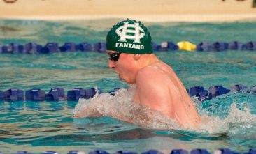 Holy Cross' Derek Fantano competes in the 200 individual medley during their meet with Woodland Friday at the John Reardon Pool at Kennedy High School in Waterbury. Jim Shannon Republican American