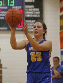 Housatonic Regional's Madelynn Olownia (25) during Berkshire League action in the Ed Sadion Gymnasium at Nonnewaug High School Friday night. Michael Kabelka / Republican-American